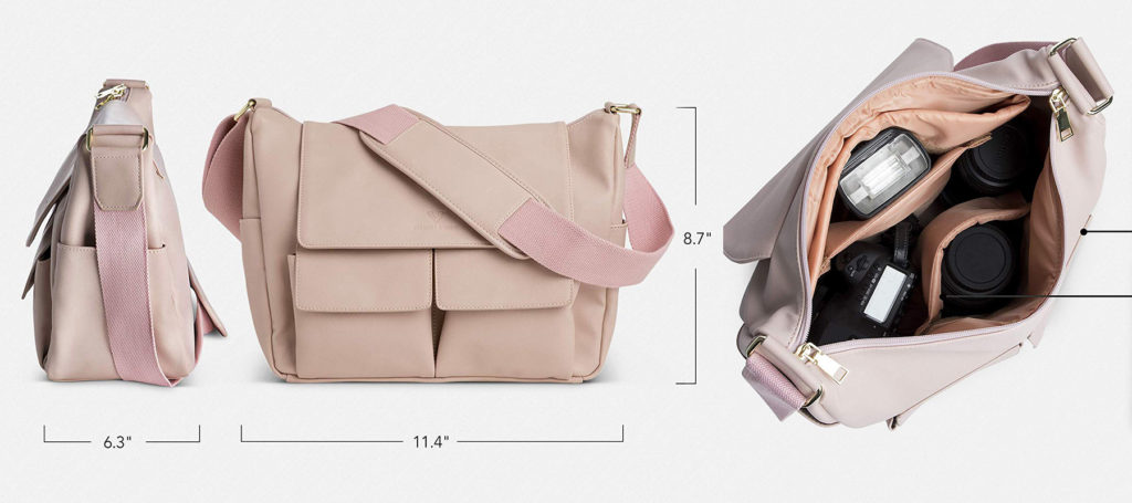 Pink vegan leather camera bag