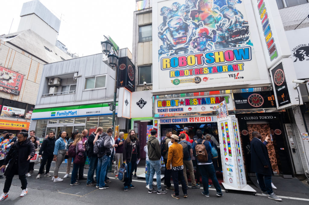 Line outside the Robot Restaurant